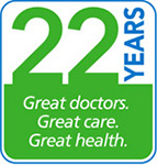 20 years. Great Doctors. Great Care. Great Health.