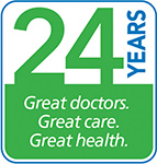 24 years. Great Doctors. Great Care. Great Health.